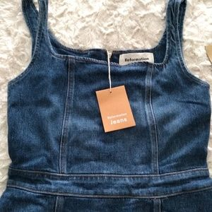 NWT Reformation mini dress jean